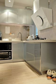 Gray Laquer Cabinets.