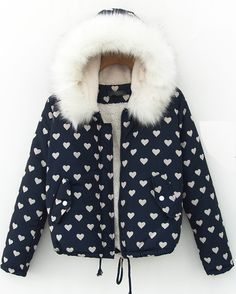 Navy Faux  Fur Hooded Heart Pattern Drawtring Coat US$44.79