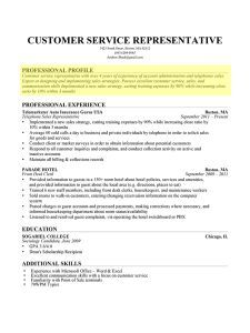 Resume Profile Resume Profile Resume Profile Examples