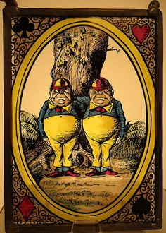 Glassmasters NOS 1969 John Tenniel Alice in Wonderland Tweedle Dee Dum Art Glass