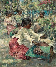 "EDWARD HORNEL ""Burmese Lace Makers"" dappled light asian four people kneeling NEW"