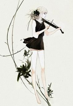 Anime girl with violin - I love the aesthetics of this piece; the line work, the high key and dark tones, makes a wonderful, dark kind of mood... very beautiful.