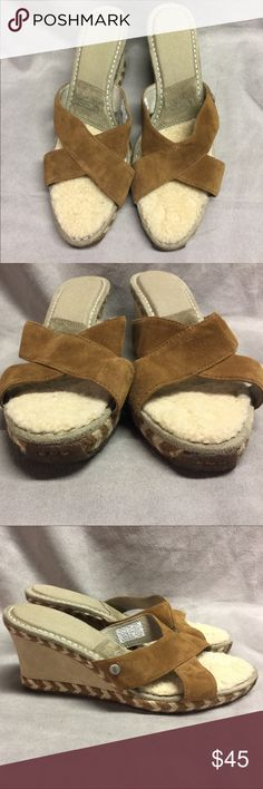 UGG Australia Margot Brown Suede Wedges Sz 11 UGG Australia Margot Chestnut Brown Suede Wedges Heels Womens Size 11 Heel is 3.5 inches Platform height is .75 inches  Excellent condition Minor scuff from normal wear Please see pics to see if they will work for you UGG Shoes Wedges