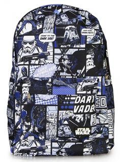 """Star Wars Comic Darth/Jedi"" Backpack by Loungefly (Blue) #inkedshop #starwars #blue #backpack #bookbag #fashion #darthvader"