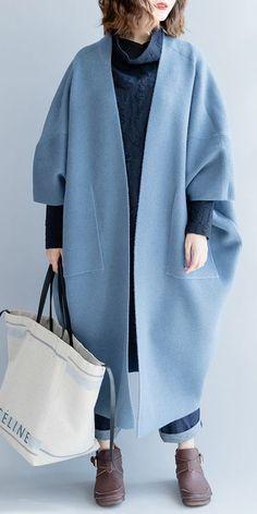 LOOSE WOOL LONG WARM COAT WOMEN FALL AND WINTER JACKET C2491 Blue Coats e6e4b37c261