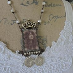 Soldered Glass Assemblage Necklace Naturally Nouveau Real