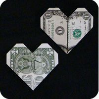 Money origami heart quick easy way to add money to a card with just a little creativity easy dollar origami house Easy Money Origami, Money Origami Heart, Oragami Money, Origami Simple, Origami Love Heart, Dollar Origami, Useful Origami, Origami Stars, Origami Paper