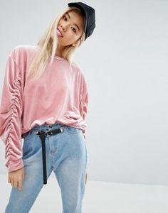 STYLE NANDA | STYLENANDA Velvet Sweatshirt With Ruched Sleeves
