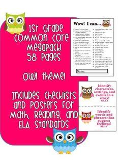 1st Grade Common Core MEGAPACK! (Owl theme)