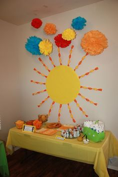 Beatles Themed Baby Shower--here comes the sun/son  Lots of cute ideas that could be used for a birthday party.