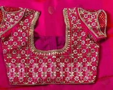 Excited to share the latest addition to my shop: Gorgeous blouse wedding blouse Cutwork Blouse Designs, Saree Blouse Neck Designs, Bridal Blouse Designs, Mango Mala Designs, Mango Mala Jewellery, Zardosi Work Blouse, Maggam Work Designs, Wedding Saree Collection, Cut Work