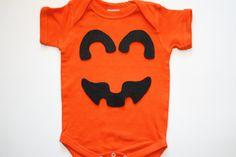 Halloween Orange Black Pumpkin Onesie or by ShortandSweetPeas, $12.00