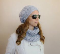 Winter Beret and scarf https://www.etsy.com/listing/193923902/grey-slouch-beanie-beret-and-cowl-set