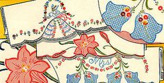 Vintage Embroidery 109 Crinoline Lady Applique Bluebells Lilys for Pillow Cases