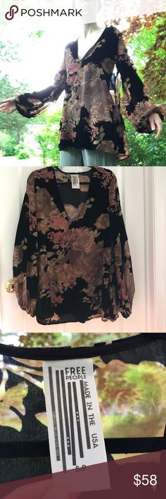 Free People Sheer Floral Tunic Blouson Sleeve burnout velvet with sheer chiffon fabric. very gently used with no major flaws. made in USA. fits oversized. Deep V-neck. Free People Tops Tunics