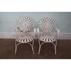 Image of Antique 1930s Sunburst Patio Chairs - A Pair
