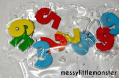 number sensory bag for babies and toddlers made from laminator pouch