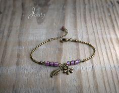 Bracelet rétro chaîne bronze, perles de rocailles mauves