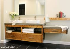 Get the free building plans for this modern DIY floating vanity that could also be used as a floating TV console! Clean lines make them easy to build! Diy Vanity, Diy Bathroom Vanity, Diy Bathroom Remodel, Bathroom Furniture, Vanity Ideas, Design Bathroom, Bathroom Basin, Wood Bathroom, Basement Bathroom
