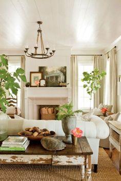Comfy farmhouse living room design ideas 10
