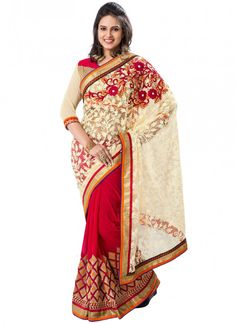 Beige and Hot Pink Georgette and Net Designer Party wear saree