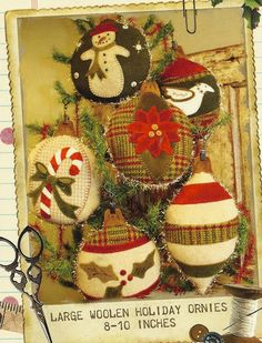 Primitive Folk Art Wool Applique Pattern:  Large WOOLEN HOLIDAY ORNIES. $8.75, via Etsy.