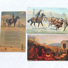 3 Antique Cowboy Postcards 1908