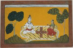 Shiva and Parvati playing chaupar, a relative of pachisi. #boardgame #ancient #India #history #art #vintage #culture