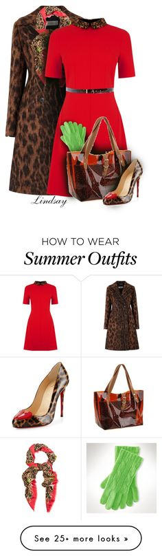 """OASIS Leopard Collar Shift Dress"" by lindsayd78 on Polyvore featuring Sportmax, Temperley London, Oasis, Ralph Lauren, Christian Louboutin and Dsquared2"