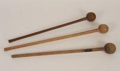 Three African Zulu tribal war clubs; knobkerrie.