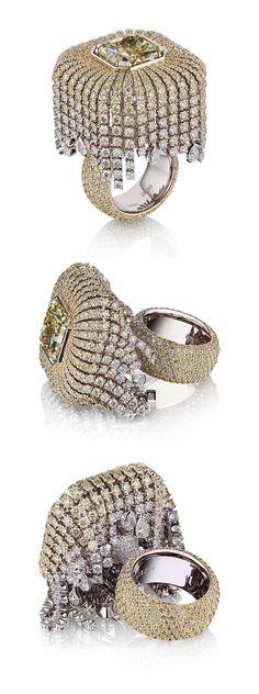 "VLAD GLYNIN jewellery - vladglynin.com - Ring ""Prosecco"", 2015. White gold, yellow and white diamonds. / Кольцо ""Просекко"", 2015 г. Белое золото, жёлтые и белые бриллианты. / Anello ""Prosecco"", 2015. Oro bianco, diamanti bianchi e gialli."