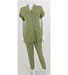 Vintage 1960s Circa Thérese Baumaire Size 14 Melon Green Safari Shirt And Trouser Co-Ordinate Set
