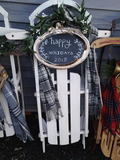 Chalkboard decoration on a painted sled - all set for winter holiday decor