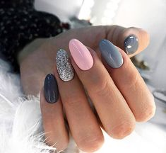 In search for some nail designs and ideas for your nails? Here's our listing of must-try coffin acrylic nails for stylish women. Grey Gel Nails, Cute Acrylic Nails, Pink Nails, Cute Nails, Grey Nail Art, Dark Grey Nails, Sparkle Nails, Silver Nails, Nail Polish