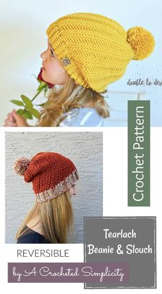 Crochet Pattern - Tearlach Beanie & Slouch (REVERSIBLE, seamless, unisex, 2 yarn weights) by A Crocheted Simplicity