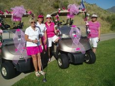 Look at the group of Rally for the Cure supporters with their carts decorated!