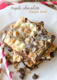 Delicious Triple Chocolate Magic Bars - a family favorite and SO addicting! { lilluna.com } Made with devils food cake mix, sweetened condensed milk, and milk chocolate, butterscotch, and white chips!!