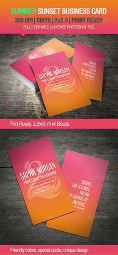 Summer Sunset Business Card - GraphicRiver Item for Sale