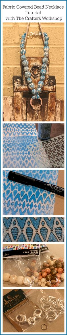 DIY Stenciled fabric-covered bead necklace #tutorial