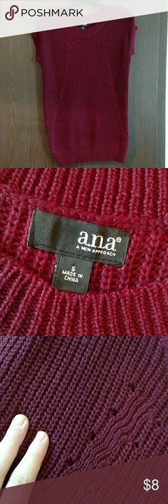 a.n.a. Tunic Length Sweater Maroon or burgundy colored short sleeve tunic length sweater. Size small. Never worn so in like new condition. Would look great paired with leggings and boots or with a long sleeve tee underneath. a.n.a Sweaters Crew & Scoop Necks