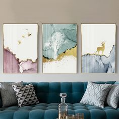 Trend Abstract Bird, Forest & Deer Canvas Print, Wall Art, Poster, Airbnb Home D. Bedroom Canvas, Living Room Canvas, Canvas Wall Art, Living Room Decor, Wall Art Prints, Bird Canvas, 3 Canvas Painting Ideas, 3 Piece Canvas Art, 3 Piece Wall Art