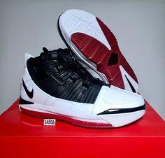 quality design 17846 989e6 Nike Zoom Lebron James III 3 QS Home Bred White Black Red Varsity AO2434  101