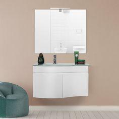 Mobile da Bagno moderno sospeso lavabo da cm 80 in cristallo bianco specchiera