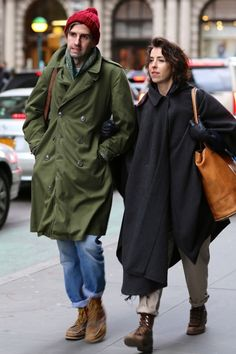 Some couples go together very well. streetstyle in love beanie coat jacket boots fashion together tumblr