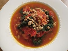 Swiss chard, tomato, & navy bean soup
