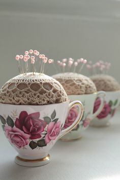 Vintage Sewing Teacup Pincushion - You will love this Teapot Pincushion Pattern Free Tutorial. Learn how to turn your Teapot or your Teacup into a pincushion and sewing caddy. Doilies Crafts, Fabric Crafts, Sewing Crafts, Burlap Crafts, Vintage Crafts, Vintage Sewing, Vintage Fabrics, Costura Vintage, Craft Projects