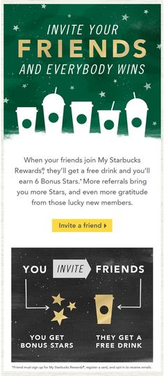 starbucks refer a friend email campaign