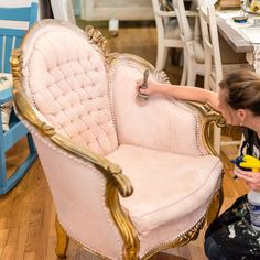 Yes! You can apply Chalk Paint® by Annie Sloan fabric! | Painting the upholstery on a baroque armchair to give it a beautiful update in a soft shade of Antoinette | Photo by stockist Knot Too Shabby in Glendora, CA