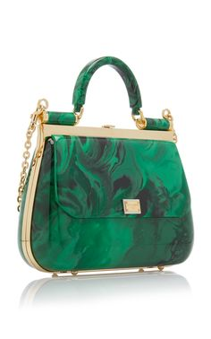 Dolce & Gabbana's plexi top handle bag is crafted in a structured silhouette with gold-tone hardware and a marbled exterior design. Complete with an optional chain crossbody strap, this style offers multiple ways to wear. Dolce & Gabbana, Slytherin, Types Of Handbags, Unique Handbags, Lv Handbags, Prada Bag, Beautiful Bags, Fashion Bags, Fashion Fashion