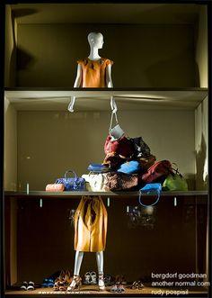 VM | Window Visual Merchandising | VM | Window Display | bags are all half price, pinned by Ton van der Veer
